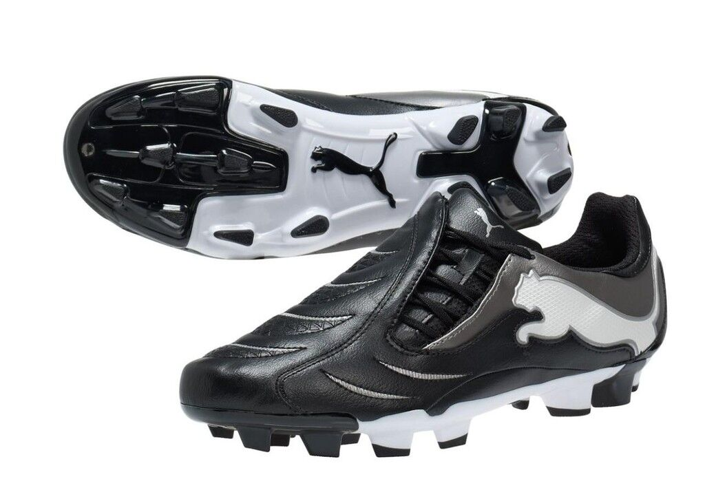 Puma PWR-C 3.10 FG 2011 Soccer Shoes Black /Silver / White Brand New