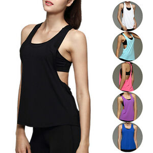 b4ac1133b Image is loading Womens-Fitness-Clothes-Tank-Tops-Loose-Workout-Sleeveless-
