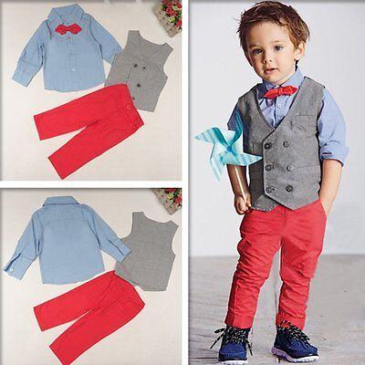 Toddler Kids Gentleman Baby Boys Long Sleeve Shirt Waistcoat Pants 3PCS Outfits