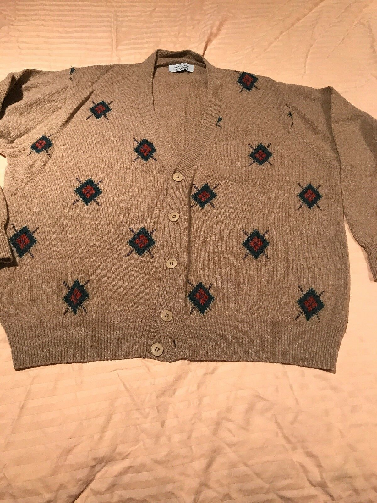 Men's M Size 50 Benetton Cardigan Sweater NWOT Was  Made In  Laine Wool