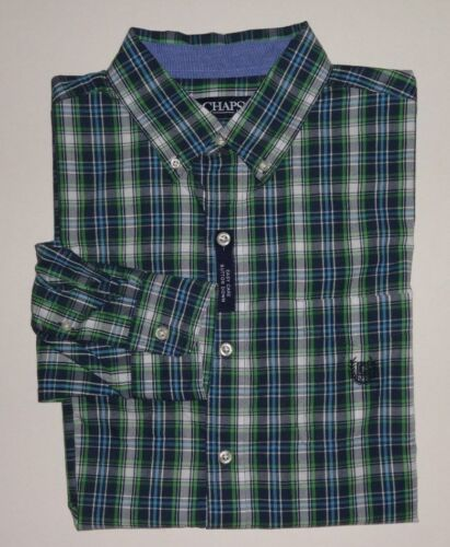 NEW MENS CHAPS EASY CARE GREEN BLUE PLAID L//S CASUAL SHIRT MED LG XXL  0103218