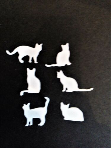 24 cats card toppers 4 sets of white//black 6 cats good luck die cut