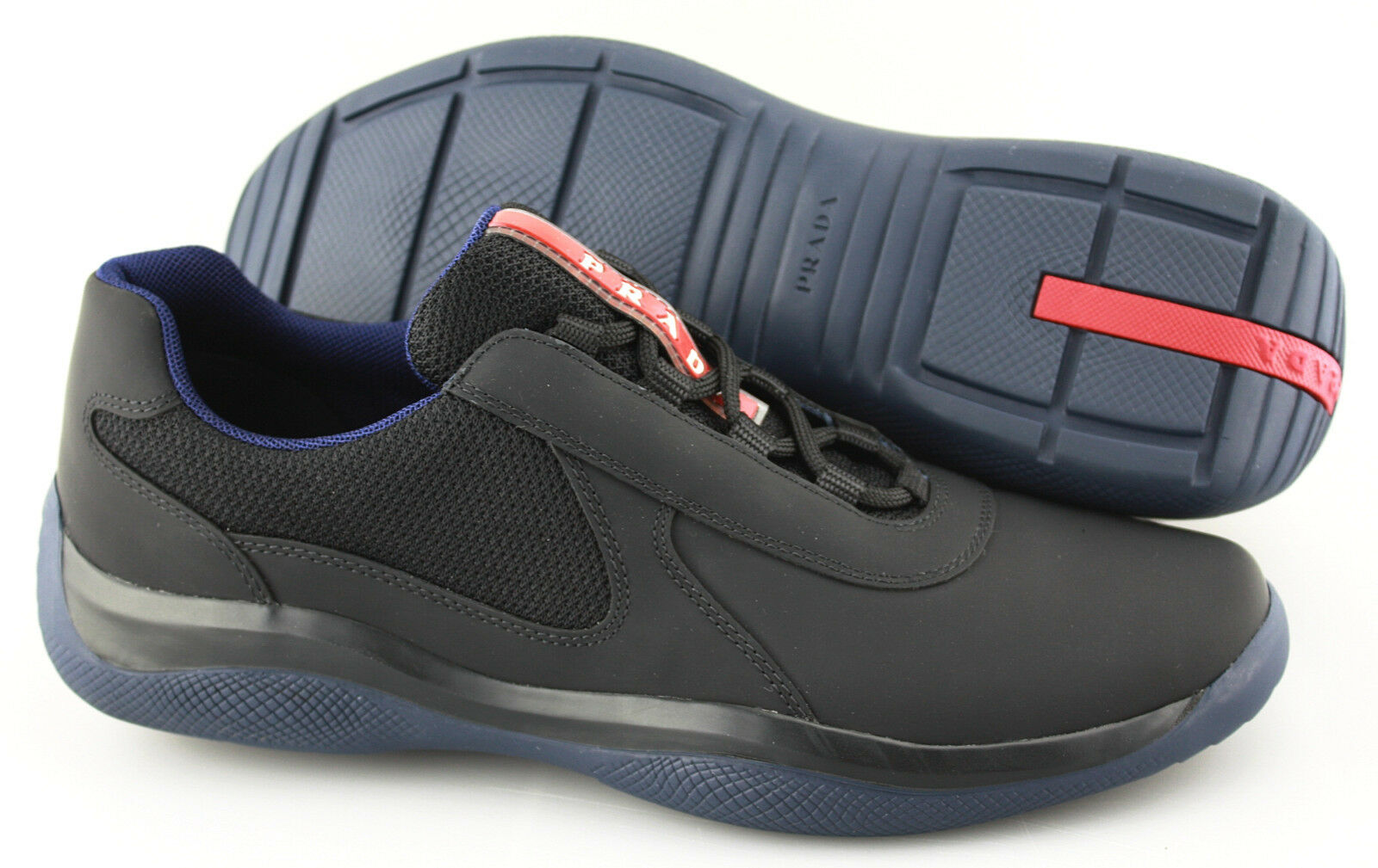58b6e5c7bc7b Men s PRADA  Punta Ala  Ala  Ala  Black Navy Leather Sneakers Size US ...