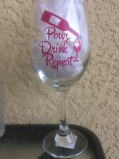 Wine Glass Custom Personalized Pour Drink Repeat 20 oz Gift/Wedding Monograms