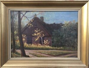 Impressionist-Pehr-Eklund-1875-1943-Old-Country-House-IN-Light-Sweden-34-X
