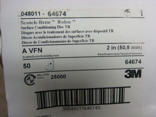 "QTY 50 3M 64674 ROLOC Surface Conditioning AVFN  TR Discs A//O 2/"" Dia"