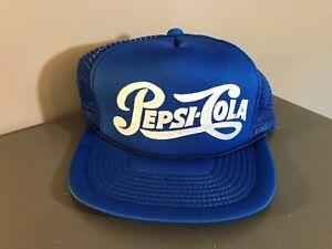 2723f457970 Image is loading Vintage-Pepsi-Cola-Snapback-Mesh-Trucker-Hat