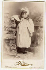 Cabinet Photo-Denver, Colorado - Adorable Little Girl Standing, Long Curls,Cape+