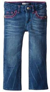 NEW-Levi-039-s-Little-Girls-715-Thick-Stitch-Bootcut-Jean-Blue-Rapids-Size-4-5-6-6X