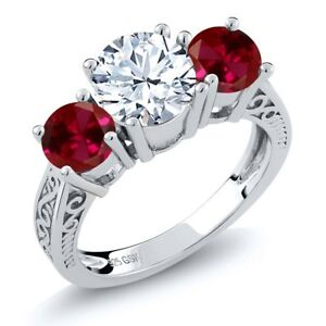 2-60-Ct-Round-White-Topaz-Red-Created-Ruby-925-Sterling-Silver-3-Stone-Ring