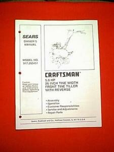 Image Is Loading Sears Craftsman 5 Hp 26 034 Roto Tiller