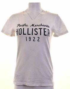 Hollister-Femme-T-shirt-graphique-femme-Taille-14-large-en-coton-blanc-LU18