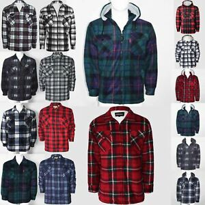 Para-hombres-camisa-de-piel-de-lana-forrada-Lumber-Jack-Acolchado-Sherpa-Sudadera-Con-Capucha-Gruesa