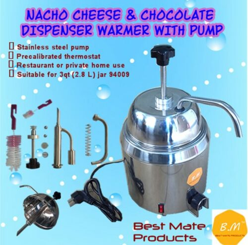 B.M GM-280 HOT FUDGE CHOCOLATE NACHO CHEESE DISPENSER WARMER WITH PUMP+1.6L Can