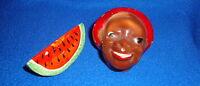 Vintage Black Americana Man & Watermelon Slice Salt & Pepper Made in Japan