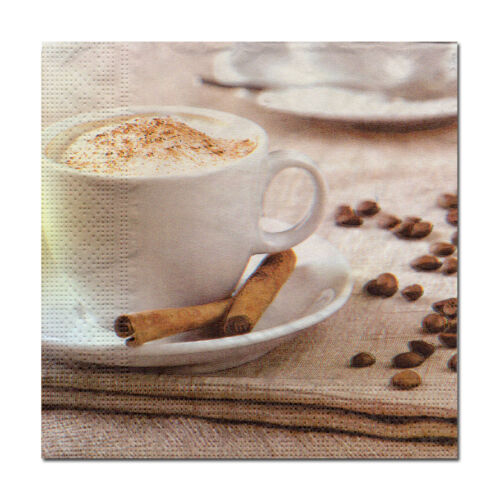 614 4 Serviettes Motif Serviettes des nappes tovaglioli Café Cappuccino