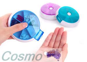 Pill-Box-7-Days-Round-Case-Medicine-Container-Dispenser-Vitamin-Organiser