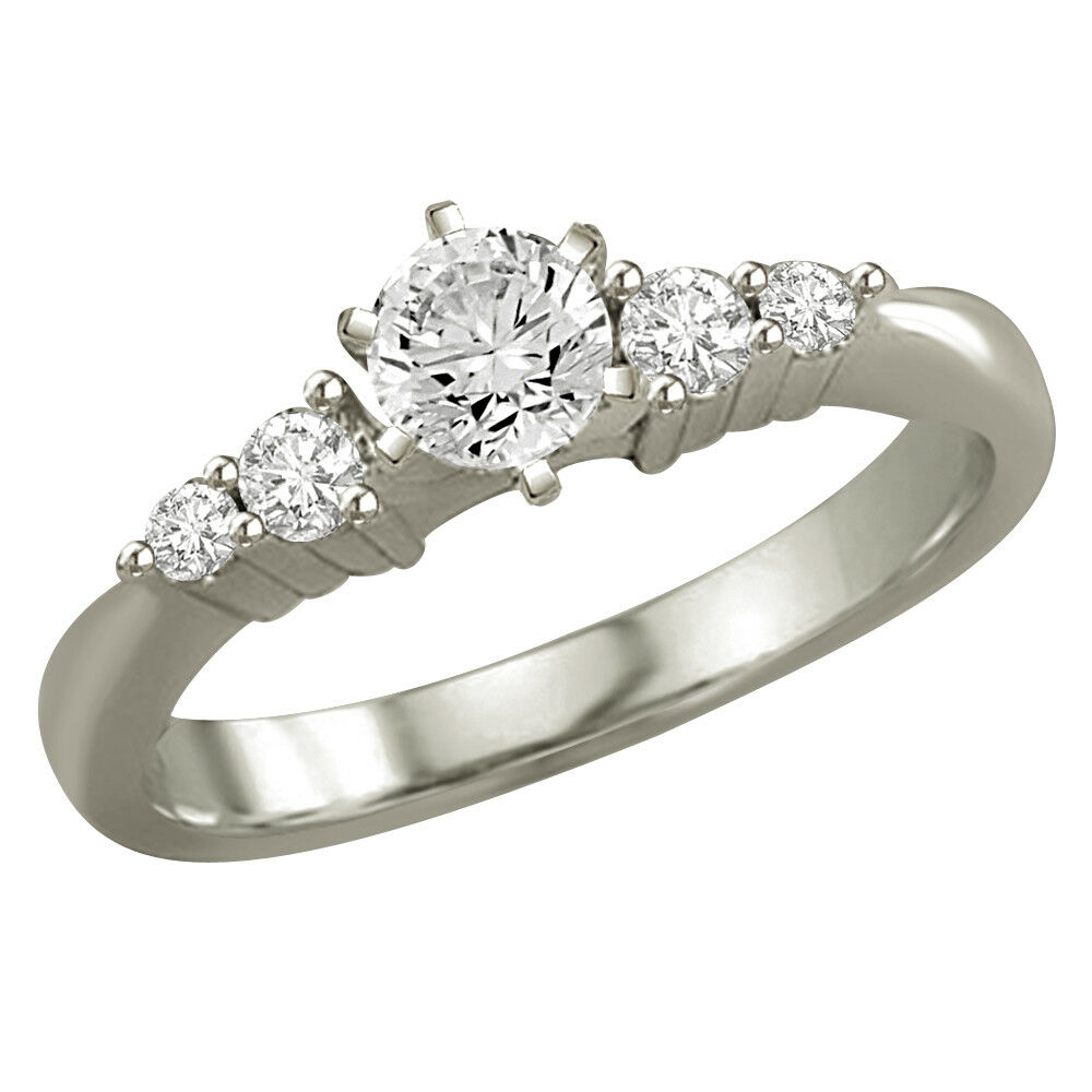 0.37TCW K-L SI2 SDJ Cert Real Diamond Engagement Bridal Ring in 14kt White gold