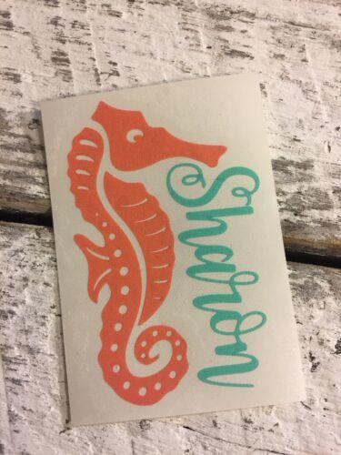 Café de Voyage Tasses Custom Sea Horse Nom Autocollant Vinyle Pour Acier Inoxydable Verres à eau