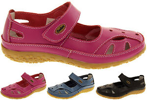 Womens-Leather-Sandals-Ladies-Comfort-Flats-Mary-Jane-Strap-Shoes-Size-4-5-6-7-8
