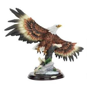 Wingspan-Bald-Eagle-Design-Toscano-Hand-Painted-16-034-Wide-Statue-Solid-Wood-Base