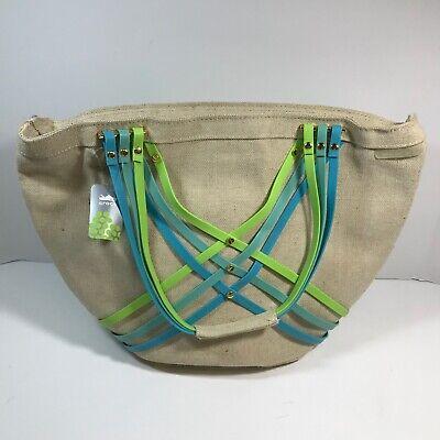 Crocs Huarache Large Summer Tote Bag Blue Green Pink//Yellow  NWT msrp $49