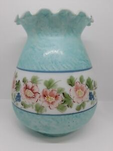 Oil-Electric-Milk-Glass-Lamp-Shade-Hand-Painted-Flowers-Parlor-GWTW-Hurricane