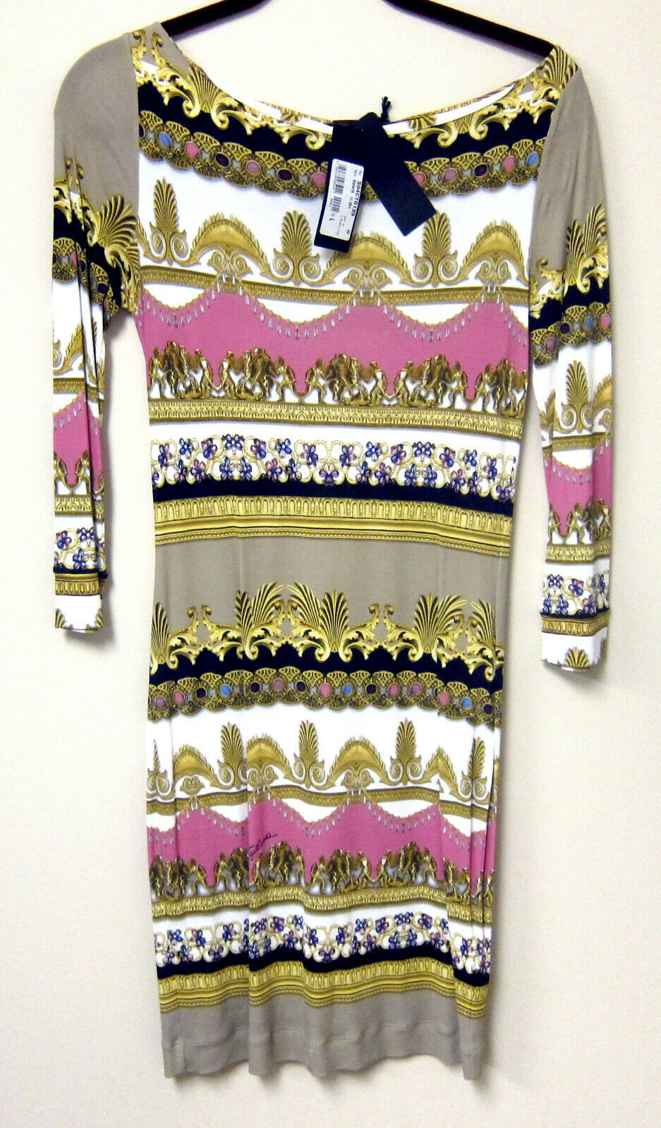 NEW Just Cavalli 3 4 sleevePrinted Dress Dress Dress SZ.M-L 25623e