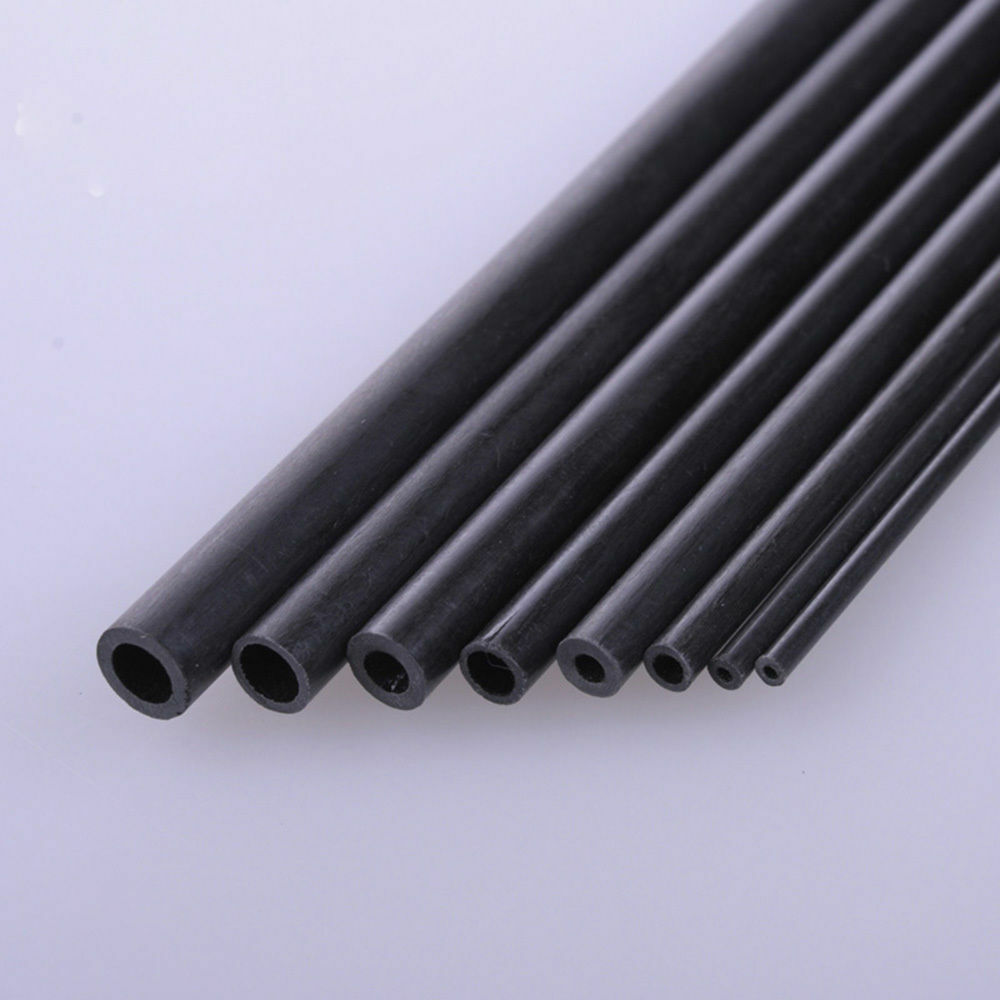 Carbon Fiber Tube Round 1.8mm 2mm 3mm 4mm 5mm 6mm OD 200mm & 400mm Long