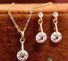 Gold plated Austrian diamond necklace earring bridal gift set for gift clearance