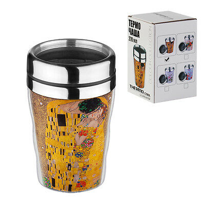 Stainless Steel Thermos Mug Travel Water Coffee Tea Cup GUSTAV KLIMT THE KISS