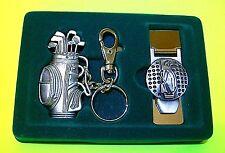 High Quality Pewter Golf Bag Keychain Key Ring Holder & Cash Money Clip 2-Pack