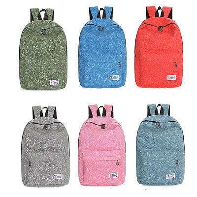 Bookbag Canvas Travel Satchel Shoulder Bag Backpack School Rucksack For Girl