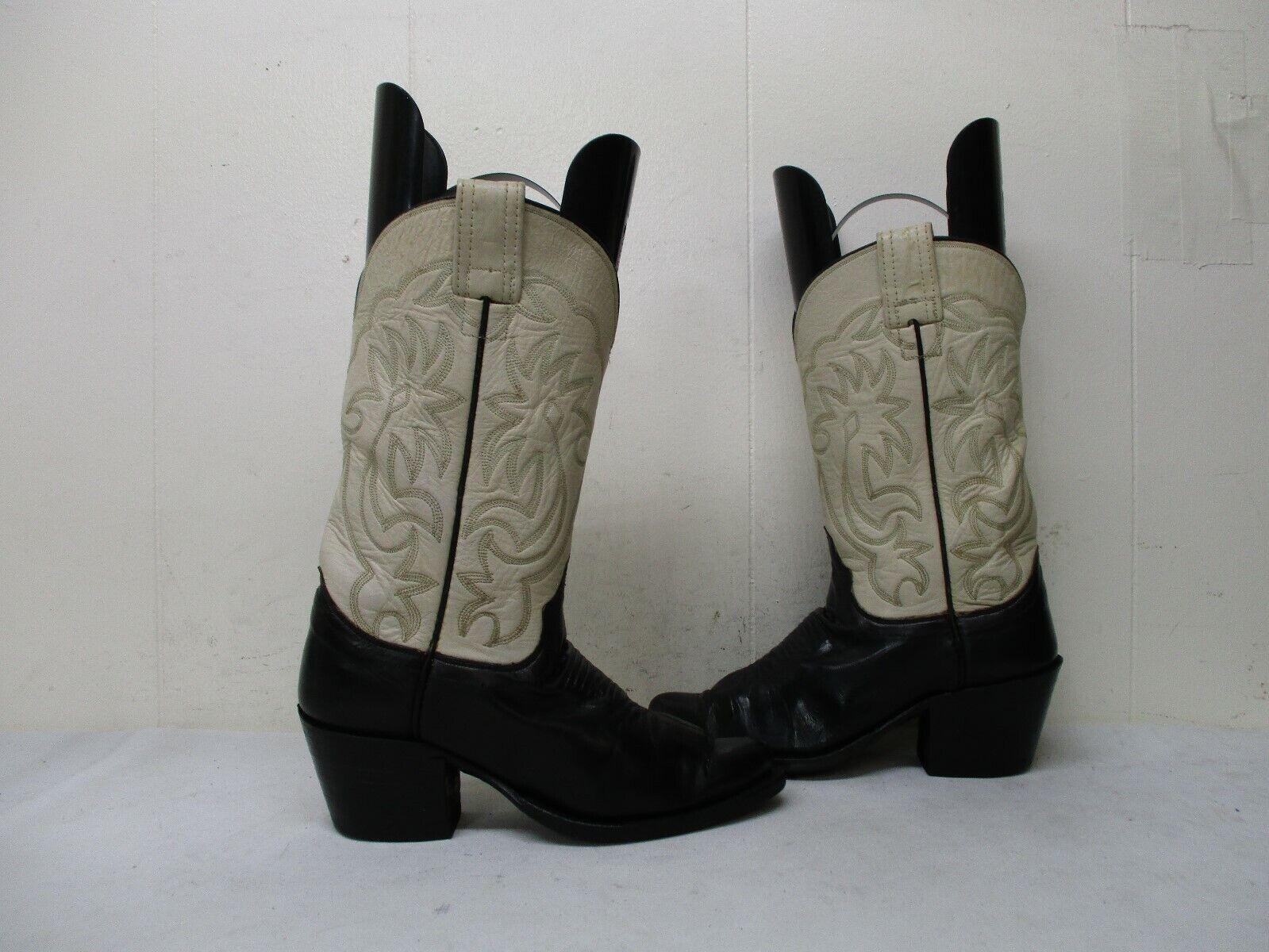Olathe Negro de cuero crema botas de vaquero para mujer B Usa