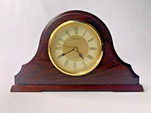 Vintage-Wood-Seiko-Mantle-Clock-Quartz-Japan-Movement-WORKS-KEEPS-TIME