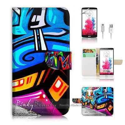 LG G3 Print Flip Wallet Case Cover! Cool Graffiti P0061