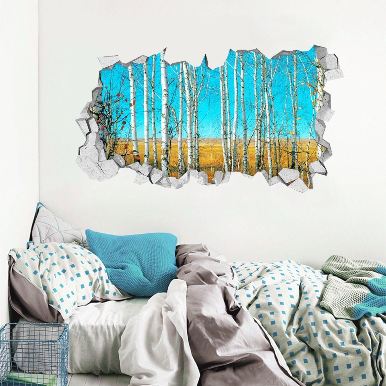 3D whitee Birke 015 Mauer Murals Mauer Aufklebe Decal Durchbruch AJ WALLPAPER DE