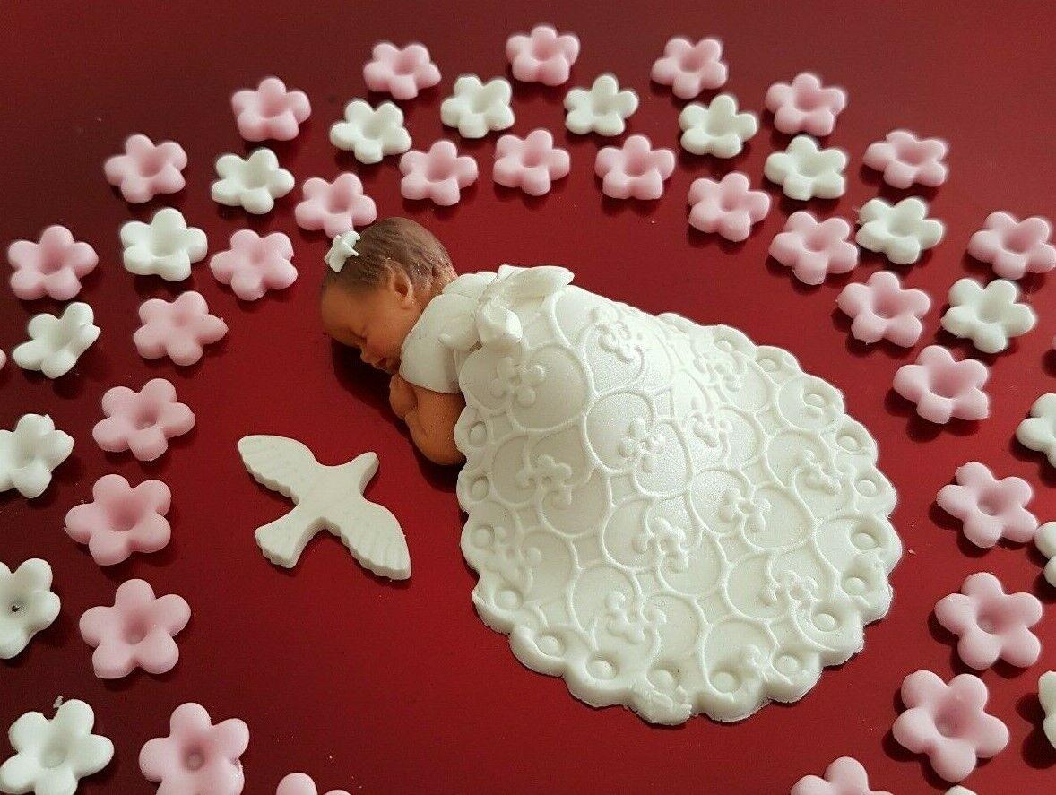 крещение Taufe Baby Taufkleid 70x Blumen Torte Deko Fondant Tortendeko Tortenaufleger