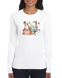 Gildan-Long-Sleeve-T-shirt-Country-clothesline-birds-cat-kitten-Flower-Birdhouse