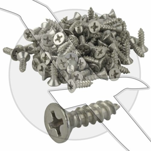"Stainless Steel #6 x 1//2/"" Phillips Flat Head Sheet Metal Screw #6x1//2/"" #6x.5/"""