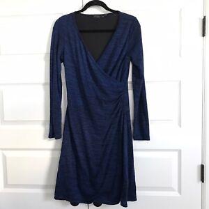 PRANA-Women-039-s-Nadia-Long-Sleeve-Faux-Wrap-Yoga-Dress-V-neckline-Blue-Size-M