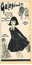 PUBLICITE ADVERTISING 034   1963   LES GALOPINS  mode enfantine