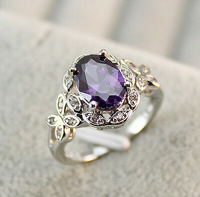 18K White Gold Filled - Amethyst Topaz Butterfly Hollow Prom Ring SZ 6/7/8/9/10