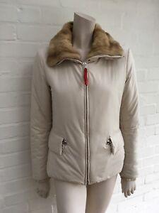 0bead5a7a4 Prada Ivory Ski Jacket Winter Weasel Fur Trim Suspenders Jacket I 42 ...