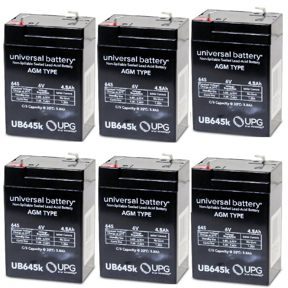 NEW 6 PACK UPG UB645 6V 4.5AH SLA Replacement Battery for Tork CYL1LA