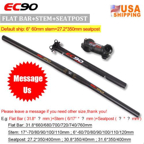 EC90 Carbon Flat//Riser Handlebar 660-760mm Stem 6//17° Seatpost MTB Bike Bar set