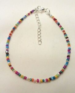 "Rainbow Opaque Handmade Seed Bead Ankle Bracelet Chain Anklet 9"" Extender"