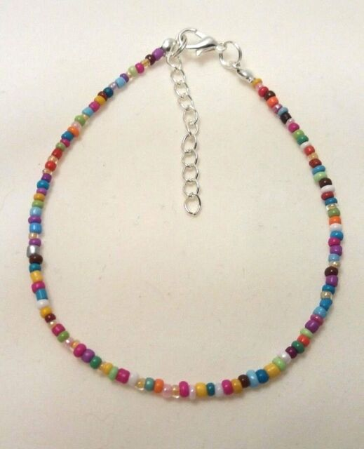 """RAINBOW OPAQUE HANDMADE SEED BEAD ANKLE BRACELET CHAIN ANKLET 9"""" + EXTENDER"""