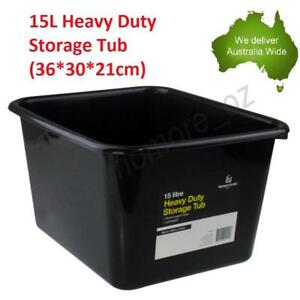 15L Heavy Duty Storage Tubs Black Plastic Containers Crate Bin Boxes Litre NEW