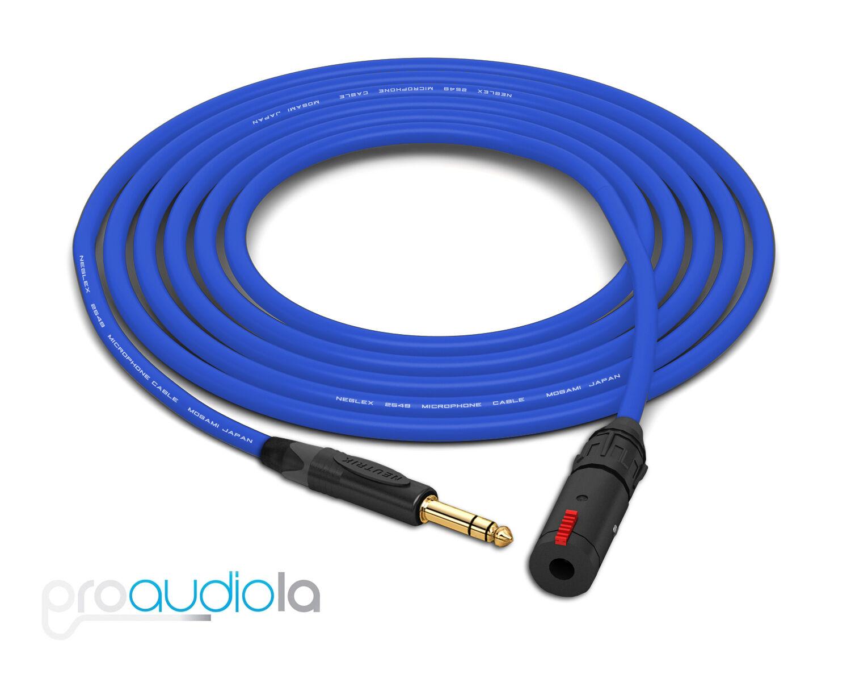 Mogami 2549 Kopfhörer Verlängerung Neutrik Gold Trs zu Trs Buchse Blau 12.2m